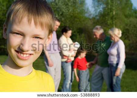 large family  in the summer park - stock photo