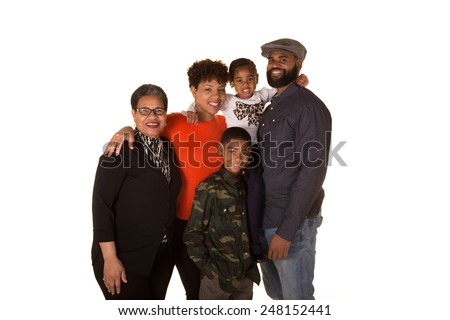 Large family of 5 including grandmother - stock photo