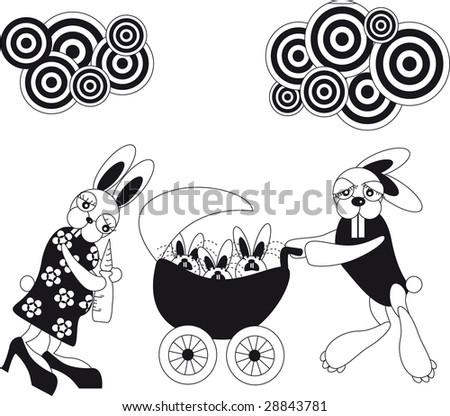 large family of rabbits - stock photo