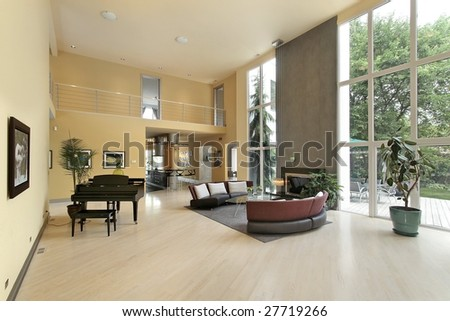 Large family room with fireplace - stock photo