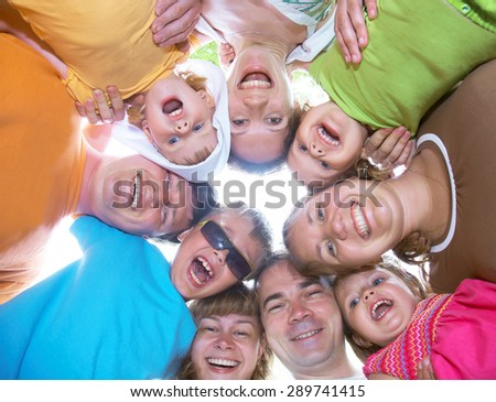 large family with children having fun together in the nature - stock photo