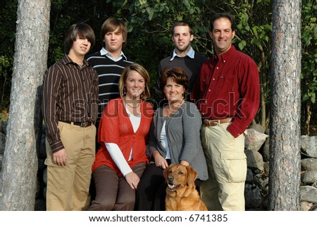 large family with teens - stock photo