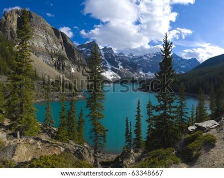 Large file size, Moraine Lake, Banff National Park, Alberta, Canada - stock photo