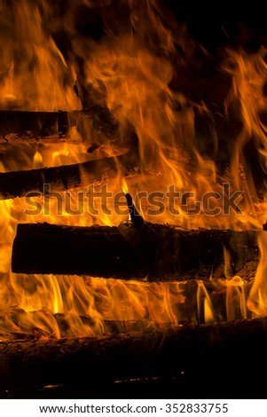 Large fire on a black background