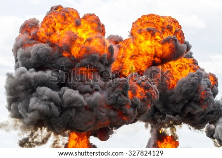 Large fireball with black smoke  - stock photo