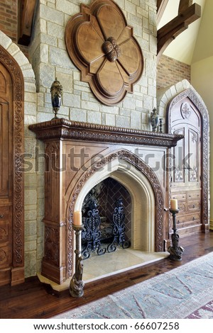 Large fireplace in family room with stone chimney - stock photo
