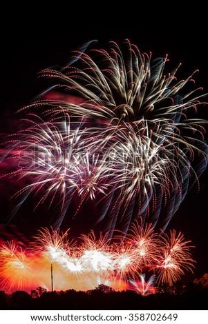 Large fireworks display - stock photo