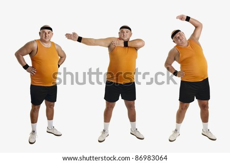 Large fitness man doing different exercises isolated in white - stock photo