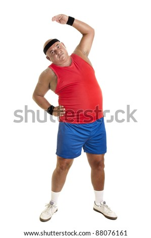 Large fitness man doing exercises isolated in white - stock photo