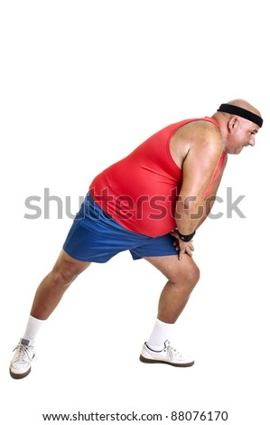 Large fitness man doing exercises isolated in white