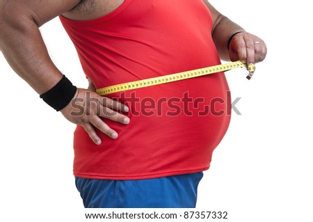 Large fitness man with measuring tape isolated in white - stock photo