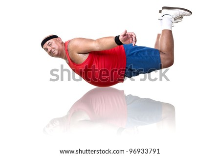 Large fitness man working out isolated in white