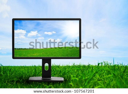 Large flat screen with nature images - stock photo