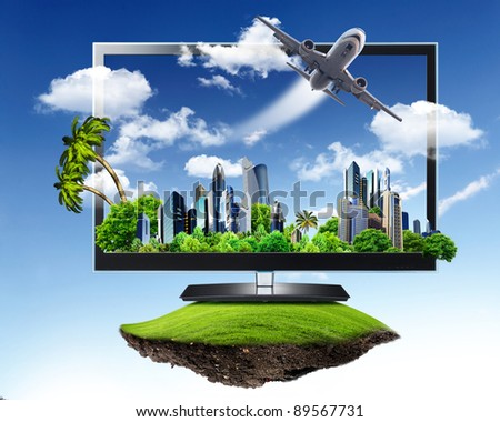 Large flat screen with nature images and nature elements inside and around