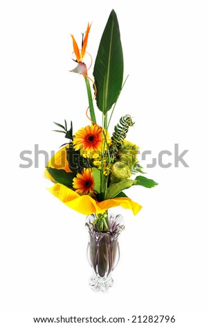 Large flower bouquet in a vase isolated on white - stock photo