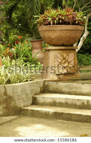 Large Flower Pot - stock photo