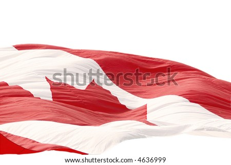 Large flowing Canadian flag on white - stock photo