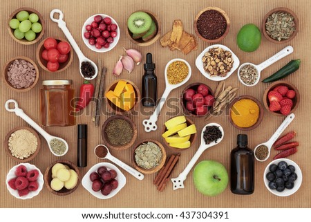 Large food and alternative medicine selection for cold remedy to boost immune system, high in vitamins, antioxidants and minerals    - stock photo