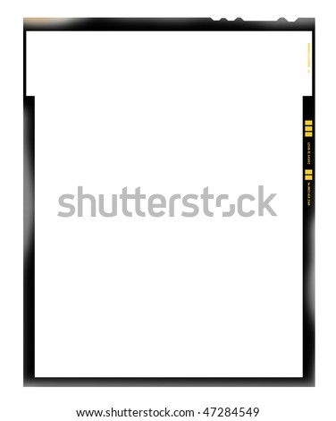 large format film sheet negative, 4 x 5 inch, picture frame, light incidence,with free copy space, isolated on white background - stock photo