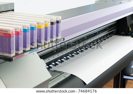 large format ink jet printer with paper roll - stock photo