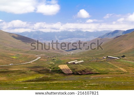 Large-format panorama of the Caucasian mountains - stock photo
