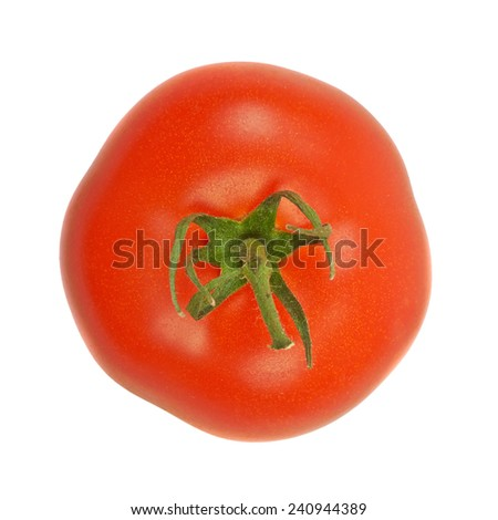 Large fresh ripe tomato, healthy ingredient isolated on white background. - stock photo