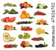 Large fruit collection high in antioxidants and vitamins,  isolated over white background. - stock photo
