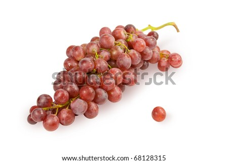 Large fruits of dark grapes. On a white background - stock photo