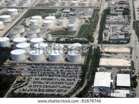 Large fuel and oil storage facility aerial view - stock photo