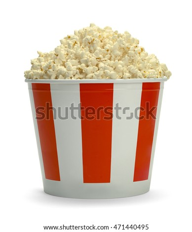 Large Full Bucket of Popcorn Isolated on White Background.