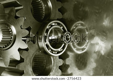 large gear-machinery with mirror-effect in titanium ( duplex-effect )