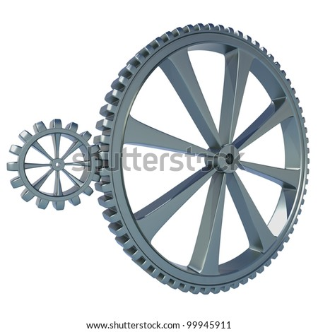 Large Gear with a Small Cog, a Burnished Metal Finish on white background