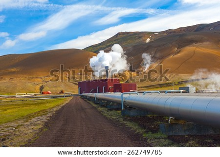 Large geothermal plant pumping heat from the Krafla volcano, Iceland