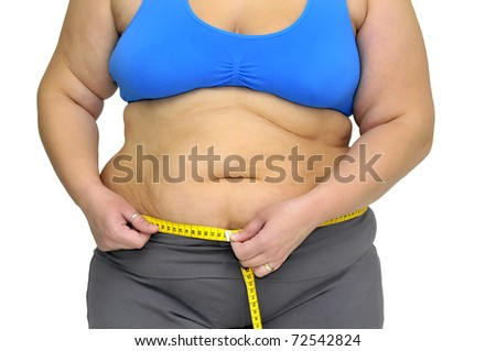 Large girl body part with measuring tape isolated in white - stock photo