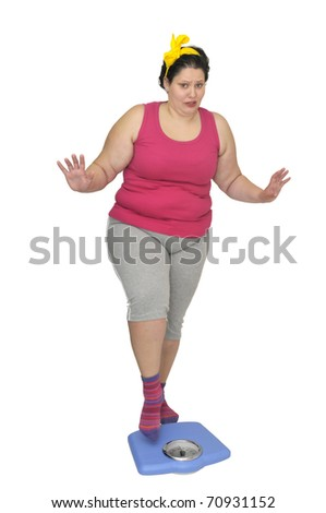 Large girl holding a scale isolated in white - stock photo