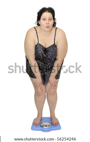 Large girl in nightie holding a scale isolated in white - stock photo