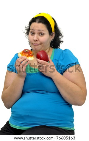 Large girl with an apple and a pizza slice isolated in white - stock photo