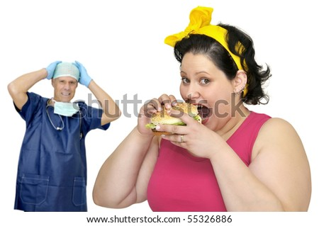 Large girl with hamburger and doctor in the background with hands in his head - stock photo