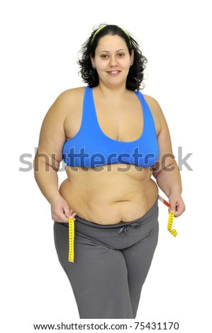 Large girl with measuring tape isolated in white - stock photo