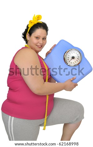 Large girl with scale and measuring tape - stock photo