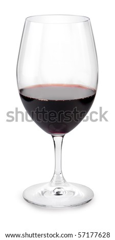 Large glass filled with red wine - stock photo