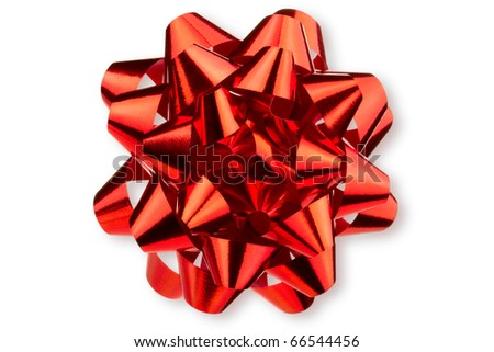Large glossy red bow. Isolated on white. - stock photo