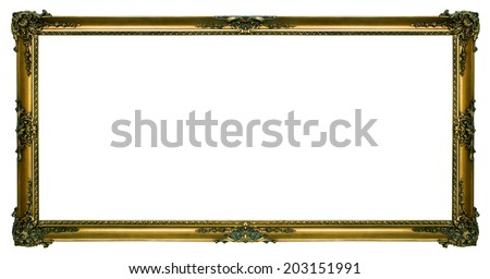 Large gold Gilded picture frame in a wide rectangular format isolated on a white background. - stock photo