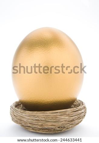 Large Golden Egg In Nest - stock photo