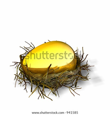Large golden egg sitting in a nest - stock photo