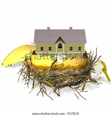 Large golden hatched egg sitting in a nest with a brand new house and set of keys - stock photo