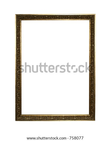 Large golden portrait frame isolated on white background with clipping path for easy masking