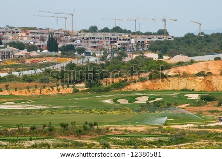 Large golf complex under construction in the Algarve, Portugal - stock photo