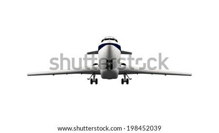 Large gray passenger airplane isolated on white background - stock photo