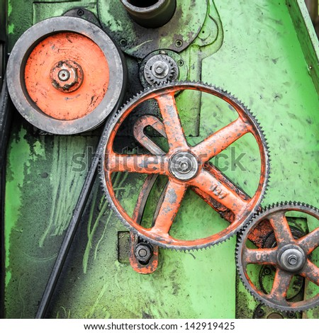 Large greasy gears - stock photo